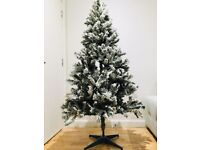 6ft Artificial Frosted Christmas Tree + Lights + Bag