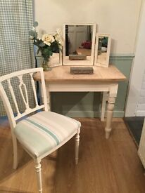 Upcycled vintage solid pine dressing table/desk, with triple mirror, chair with Laura Ashley fabric