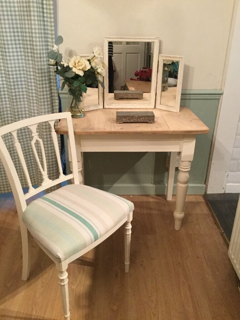 Laura Ashley Bedroom Chairs Upcycled Vintage Solid Pine Dressing Table Desk With Triple