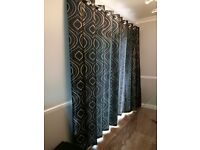 pair full sized patterned black curtains in excellent condition.