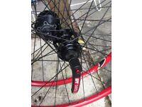 """26"""" Bicycle Wheels DT Swiss 420SL Rims Shimano Hubs Bike (rear needs repair)"""