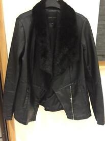 Ladies fake leather jacket with fur lining and collar