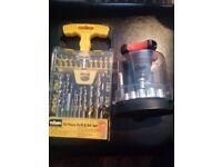 Rolson drill and bit set and Powerfix socket set