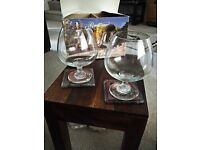 Oversized pair of crystal brandy glasses. Priced to sell.