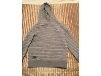 Next grey and white striped hooded sweatshirt, 6 years old