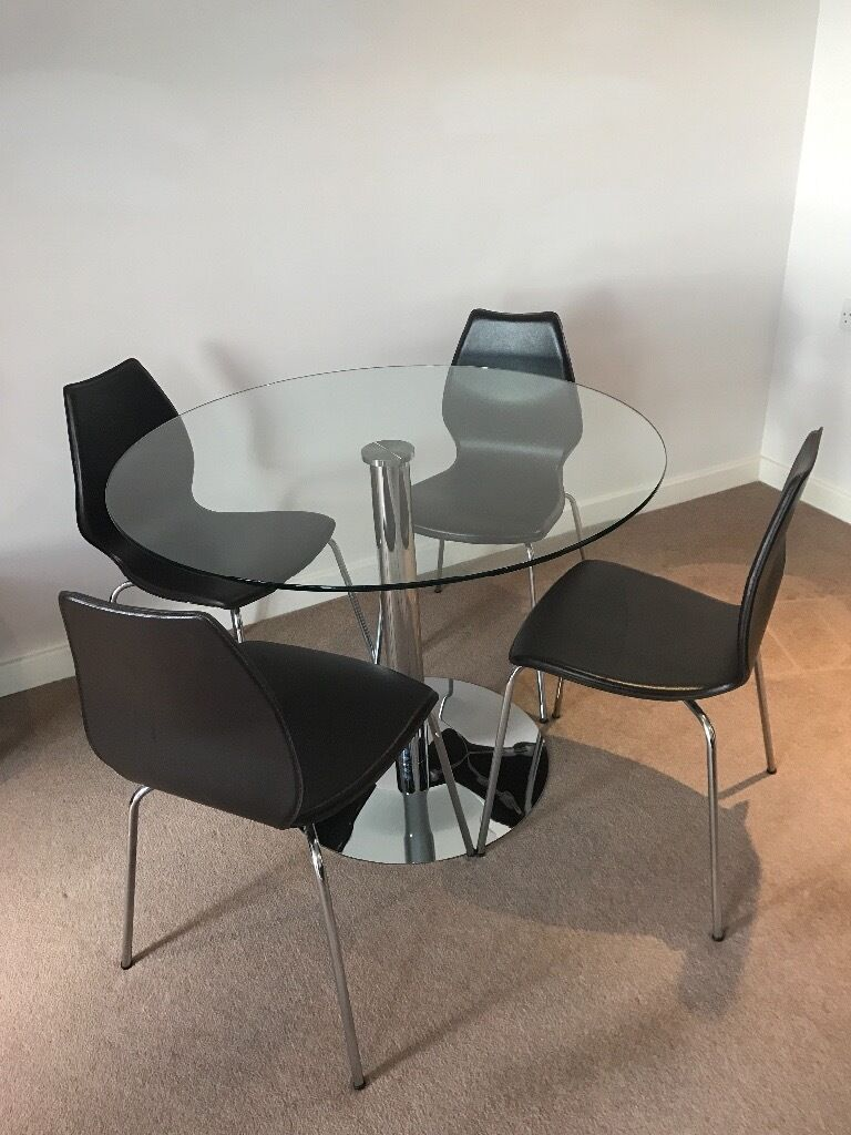 John Lewis Round Glass Dining Table 4 Dark Brown Leather Chairs Cost