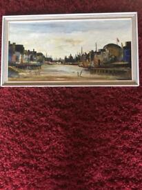 Port oil painting approx 35 years old