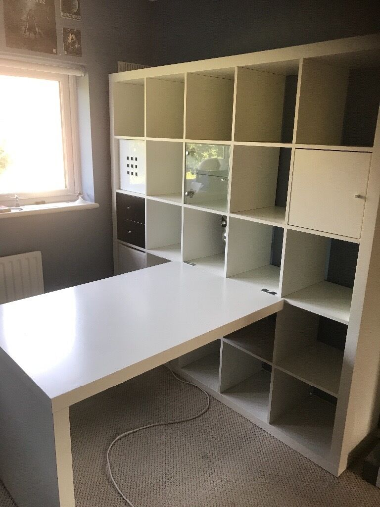 ikea kallax white shelving storage unit with inserts in enfield london gumtree. Black Bedroom Furniture Sets. Home Design Ideas