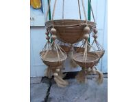 flowers hanger baskets in a macrame hanger some age large good
