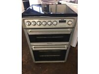Hotpoint EW74 60cm Double Electric Cooker in Silver & Black #3436