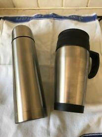 2 Brand New Brushed Steel Thermos Flasks