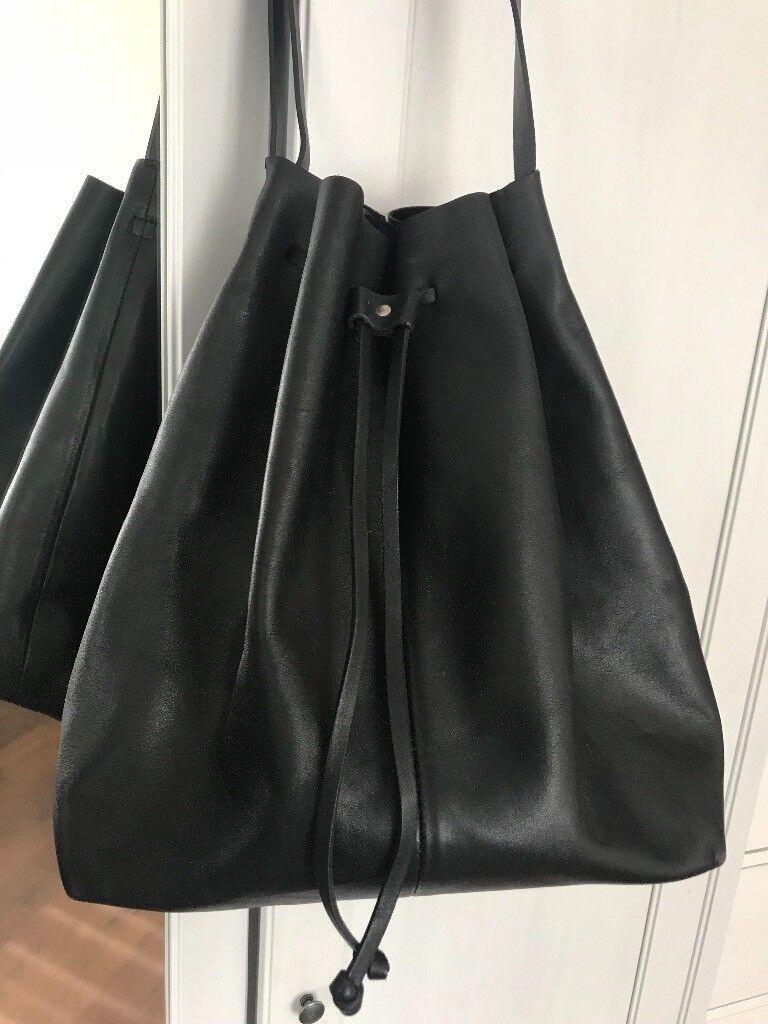 Cos Black Leather Drawstring Handbag