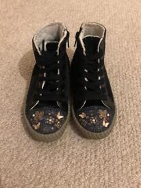 Girls Next high top trainers size 10 black suede