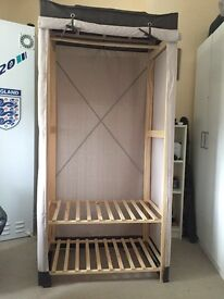 Wooden canvas wardrobe mint condition with instructions
