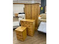 Three piece wardrobe and drawers set