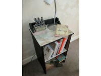 Lovely compact storage cabinet, hall, lamp or bedside table with shelf, black with vintage map print