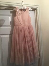 Beautiful girls blush pink Next Dress age 7. Bnwt.
