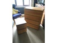 IKEA Malm Bedroom Draws and Bedside Table