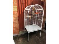 Large white parrot cage. With tree perch and filing perch worth £50 alone