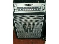 Warwick neo pro 411nd 800w bass cab with line 6 lowdown amp head hd400