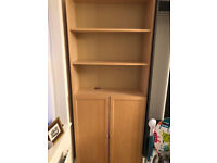 Tall IKEA Billy bookcase, pine colour, with cupboard doors built in. 200h x 30d x 80W
