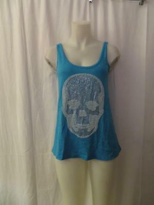 WOMENS E.VIL ALTER EGO BLUE COTTON W/SILVER & WHITE EMBELLISHED SKULL TANK TOP S