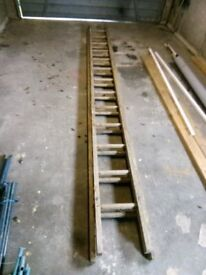 Retro ladder, wooden, double length, not safe to use but great for up-cycling.