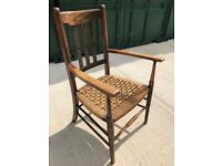 Wicker Seated Chair with arms