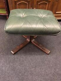 Green leather foot stool