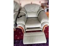 Light green leather electric recliner chair