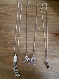 3x sliver necklaces