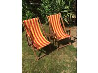 Traditional wooden garden deck chairs
