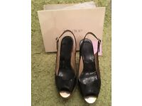Genuine Jimmy Choo Black Patent Peep Toe Cork Wedge Slingback Sandals UK 7