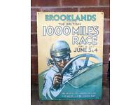 Brooklands 1000 mile race vintage metal sign.