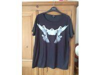 topshop dove t-shirt. size 12