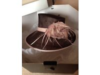 Jacques Vert brown & pink hat, as new, originally £100