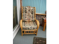 3 x cane conservatory chairs