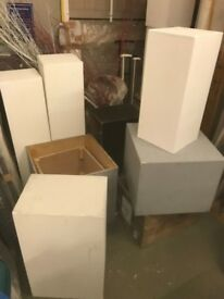 30 wooden plinths ideal for sculptures different sizes and colours
