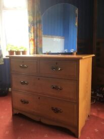 Large Chest, Dressing Table with Mirror and Drawers and large Wardrobe with external mirror