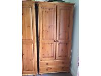 Solid pine two door, two drawer wardrobe