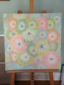 An abstract painting of petunia flowers in acrylic on deep edge 100% linen canvas; pastel colours
