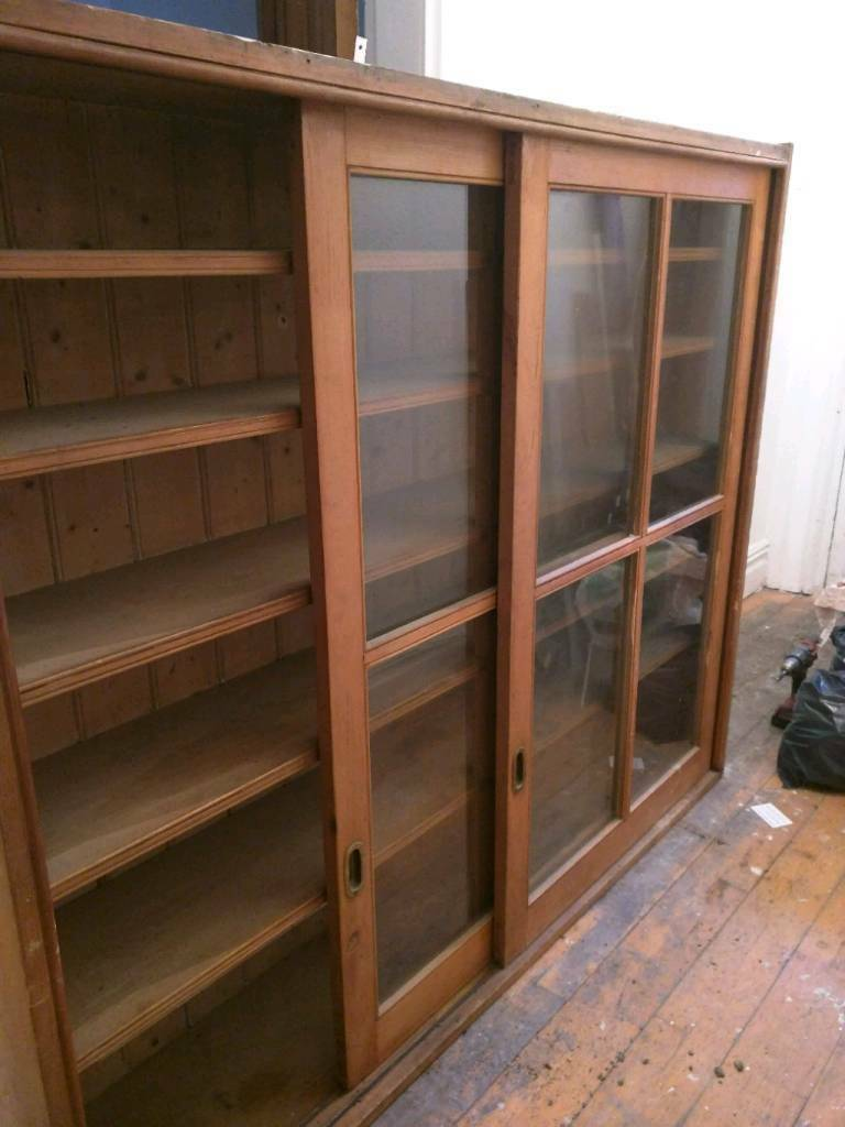 Glass front wooden sliding doors ex school book display for Sliding glass doors gumtree