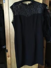 Wallis black lace top dress size 14