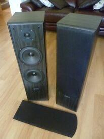 ACOUSTIC SOLUTIONS FLOOR STANDING BLACK AV 120 HI-FI SPEAKERS