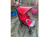 Maclaren Techno XT Single Seat Stroller red, with rain cover pram