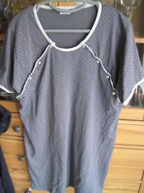 Grey / white nurisng nightdress size 10-12
