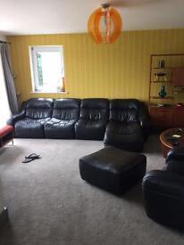 Dfs black leather suite