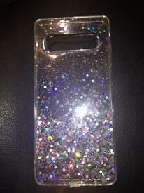 Samsung galaxy S10+ glittery phone case.