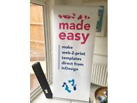 Banner display stand pull / roll up exhibition sign 185cm x 80cm