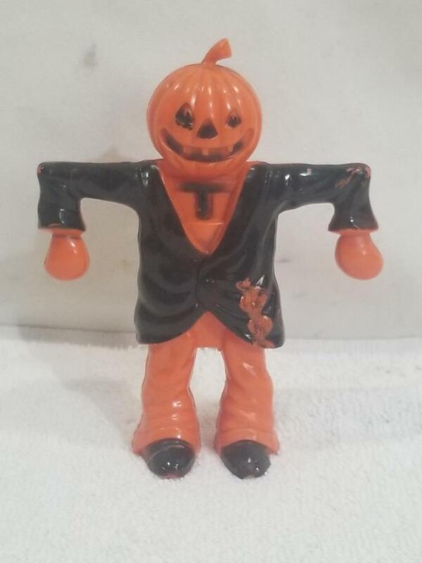 Vintage Rosbro Halloween Hard Plastic Pumpkin Scarecrow Candy Container